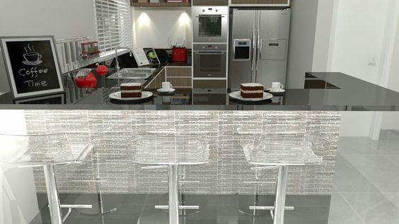 Tenho um grande amor por cozinhas assim como por cozinhar! Hoje a cozinha é feita para ser mostrada, faz parte do espaço social, onde se passam agradáveis momentos com os amigos e a família! Neste projeto elaborado para a Nova Casa revesti o balcão com a pastilha MC Line BW da Cerâmica Portinari.