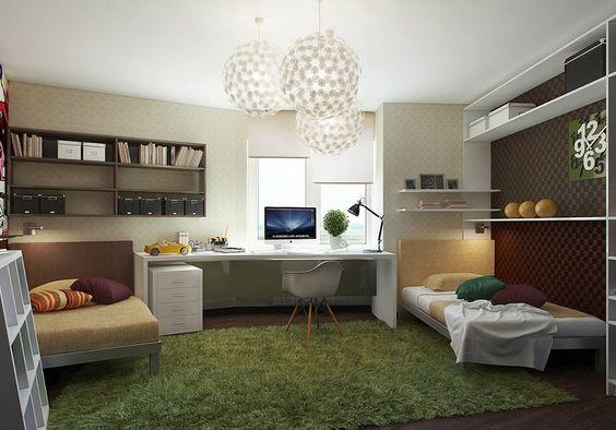 Tapetes felpudos e que imitam grama deixam o ambiente mais aconchegante.: Kids Room, Teen Workspace, Room Design, Study Room, Teen Bedroom, Teen Room, Teenage Bedrooms