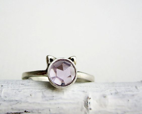 Purple Cat Ring Amethyst and Sterling Silver by EveryBearJewel, $59.00