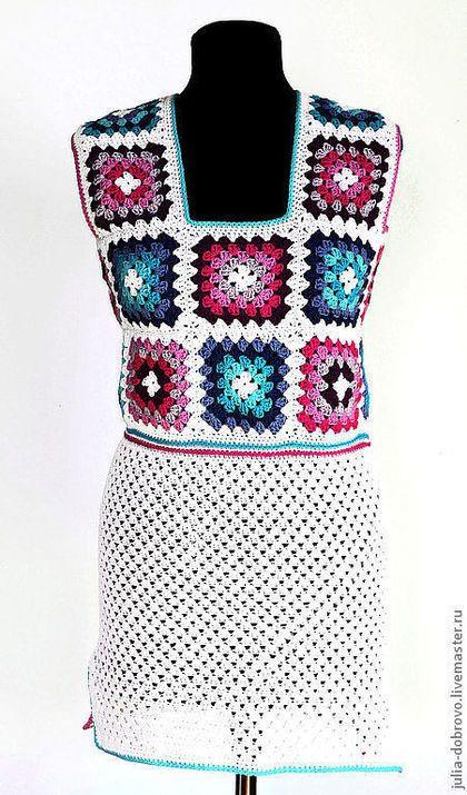 """Хлопок с акрилом. Туника мини-платье """"летнее утро"""" - цветочный,белый"""