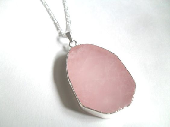 Rose Quartz Necklace Gemstone Slice Pendant by IyanaDesigns