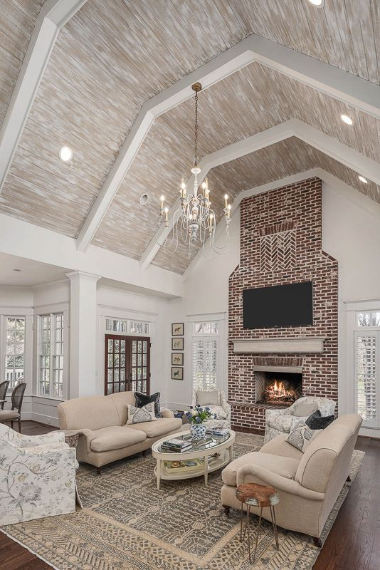Modern Farmhouse Keeping Room Cathedral Ceiling Living Room Country House Decor Southern Living