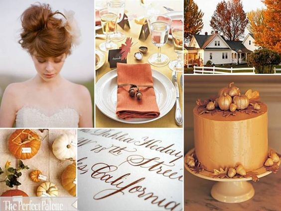 {Little Harvest Bride}: Shades of Orange, Latte, Gold + White
