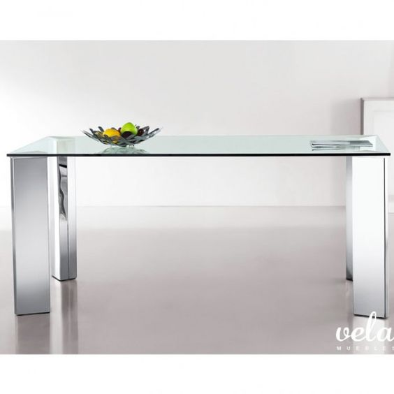 Mesa para comedor fija con patas en acero inoxidable - Mesas comedor cristal y acero ...