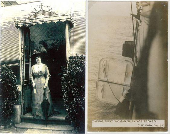 First Class Passenger, taken before Titanic sailed. & First woman survivor aboard the Carpathia.