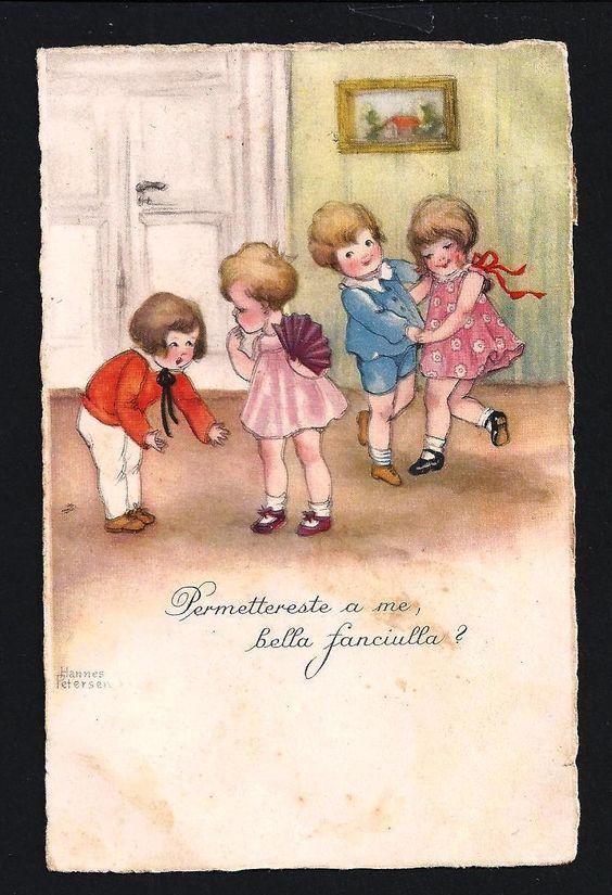 Cartolina Anni 20 Illustrata Hannes Petersen Bambini CHE Ballano Viaggiata | eBay