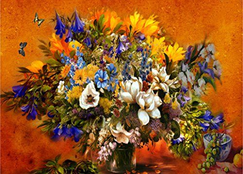 WOODEN FRAMED Flowers in bloom 16*20 inch paint by number kit Diy oil painting