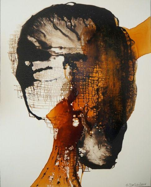 Kopf . Bitumen/Schellack . Original . 150/120 Lw/oR . ©Gabriele Dericks . geeignet für Kliniken/Arztpraxen