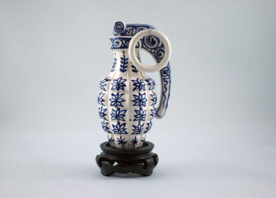 Charles Krafft, Fragmentation Hand Grenade, hand painted porcelain, life sized © DIRT gallery and Charles Krafft