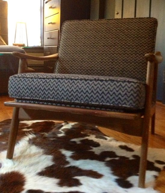 A reupholstered Flame Stitch, Teak wood frame armchair for a stylish gentleman client.