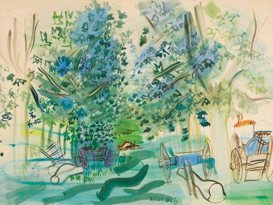 ALONGTIMEALONE: Raoul Dufy 1877 - 1953 Les charettes à Montsaunès