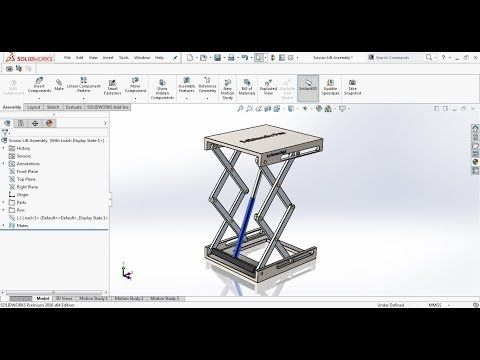 Hydraulic Scissor Lift Assembly And Motion Study In Solidworks Youtube Solidworks Solidworks Tutorial Mechanical Design