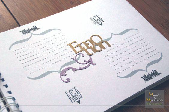 Livre d'or mariage blanc, violet et or, thème Orient Express