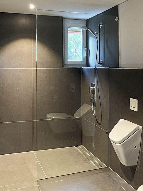 Freistehende Duschwand Duschtrennwand Mit Eckausbruch Und