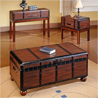 Bundle 98 Pacific Trunk Coffee Table Set 2 Pieces By Steve Silver Furniture