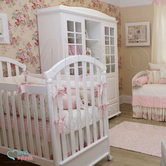Papel de Paredes para decoração de quarto de bebê e  ~ Quarto Rosa Com Papel De Parede