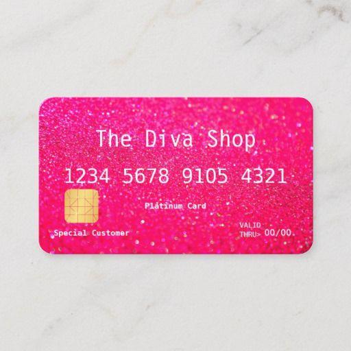 Business Card Glitter Credit Card Pink Zazzle Com Credit