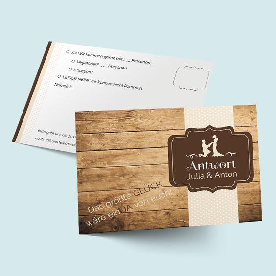 Hochzeitskartenset Glück gefunden - Antwortkarten in Holzoptik