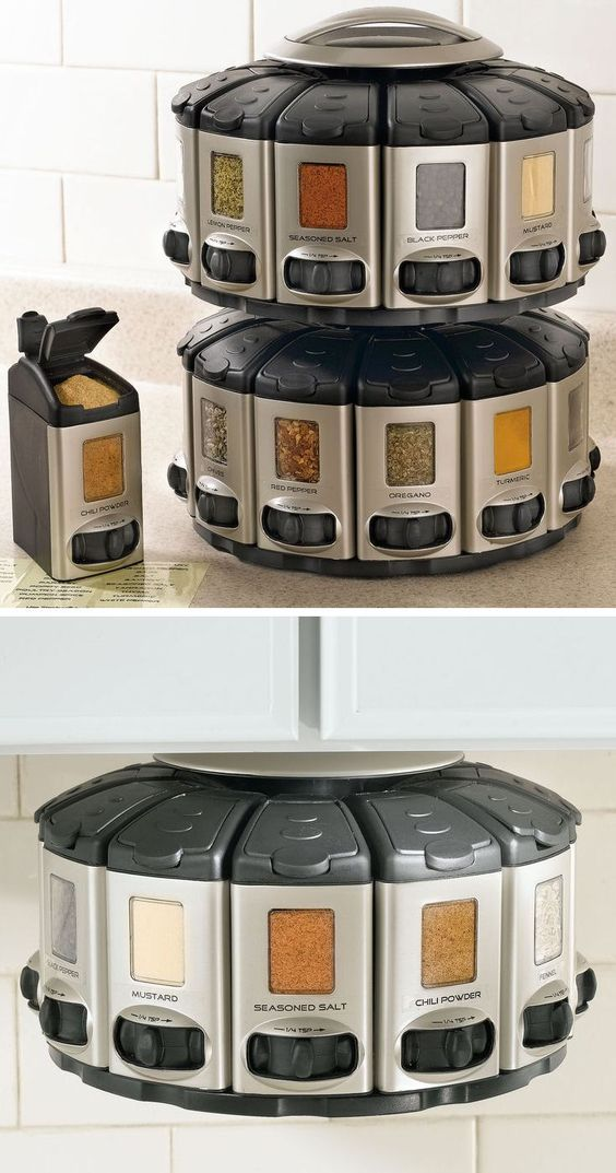 Space saver spice carousel with built in measurements for Carousel spice racks for kitchen cabinets
