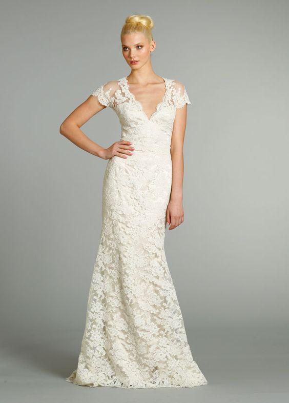 Jim Hjelm 2013 lace charmeuse wedding dress design 8252