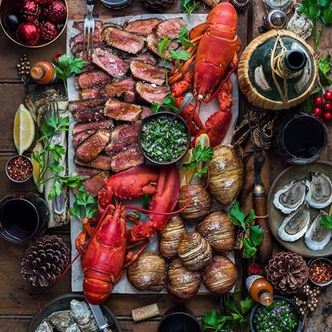 Maritime Holiday Vibes With The Crew Surf Turf Steak Chimichurri Hasselbacks My Fav Lobster Recipes In Food Platters Lobster Recipes Tenderloin Steak