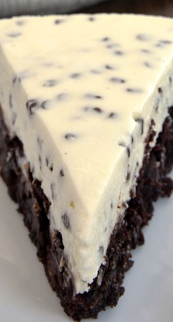 Chocolate Chip Cheesecake with Brownie Crust ~ delicious two-in-one dessert!