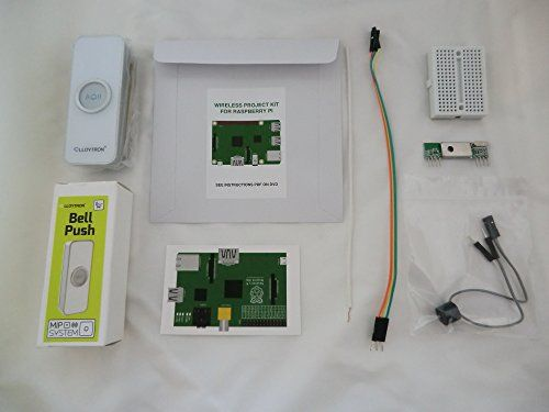 Internet & MP3 Doorbell (white) project kit for Raspberry Pi. Kit includes a Lloytron MIP wireless doorbell & 433MHz wireless receiver kit for Raspberry Pi. DVD includes a selection of MP3 gongs, sirens & bells, that your Pi can play when someone presses the doorbell. You can also have your Raspberry Pi take a photo of the visitor & email it to your mobile phone (either from your USB webcam or your Pi Camera). Includes software, instructions & support. Internet of Things educational project…