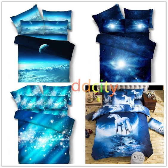3D Bedding Set Galaxy Bedclothes Queen Size 1Pcs Duvet Cover 2Pcs Pillowcase