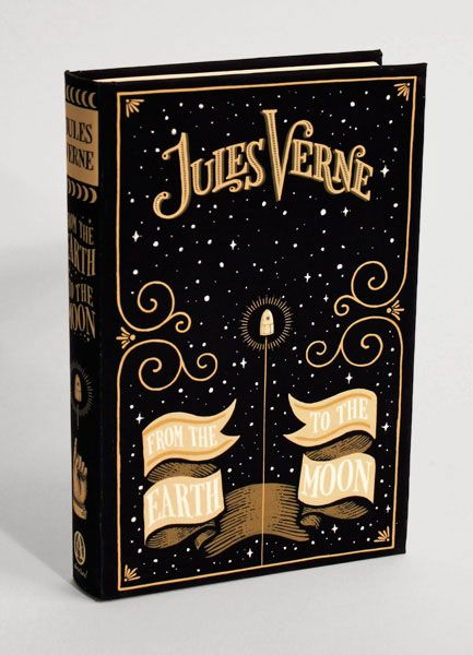 From the Earth to the Moon by Jules Verne, with a modern cover design by Jim Tierney