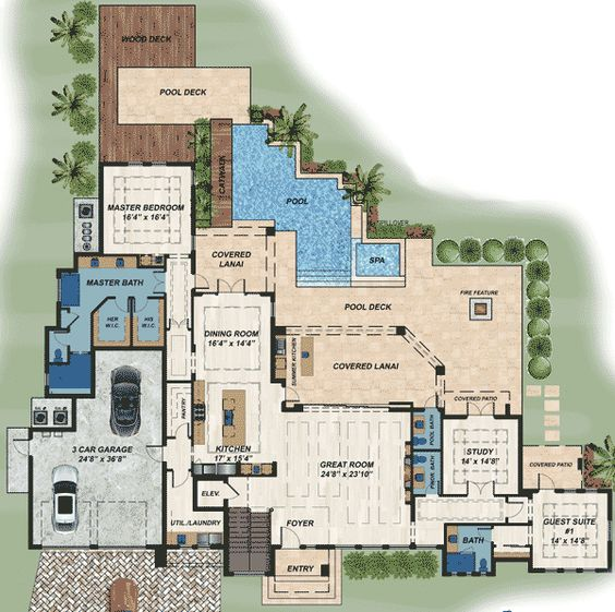 Plan 31836dn modern masterpiece pantry elevator and for House plans with elevator