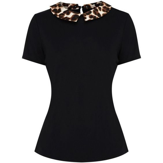 Oasis Animal print collar tee ($38) ❤ liked on Polyvore