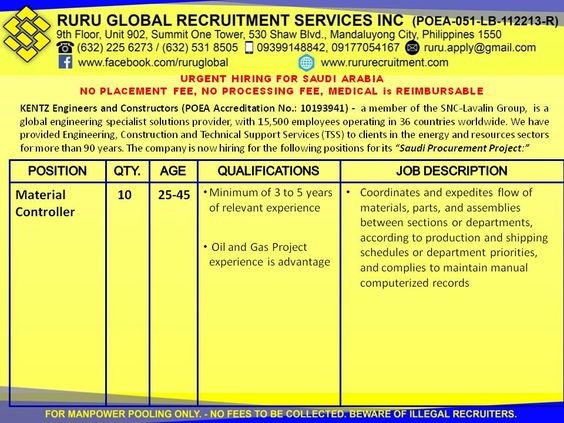 Kentz Saudi Arabia Hiring for Buyer and Material Controller - project engineer job description