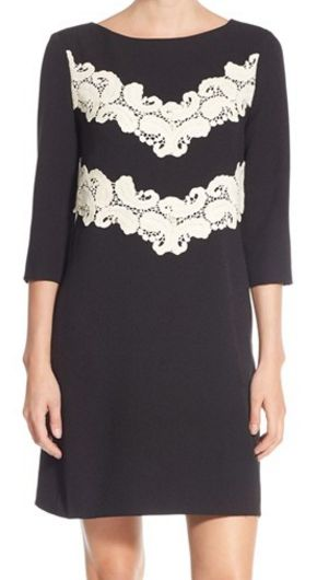 Maggy London lace applique crepe shift dress
