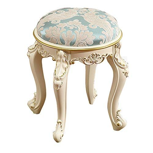 Vanit Dressing Stool Makeup Seat Baroque Piano Chair Padded Bench Chair With Plastic Steel Legs High Resilience Spo Round Footstool Padded Bench Dressing Stool