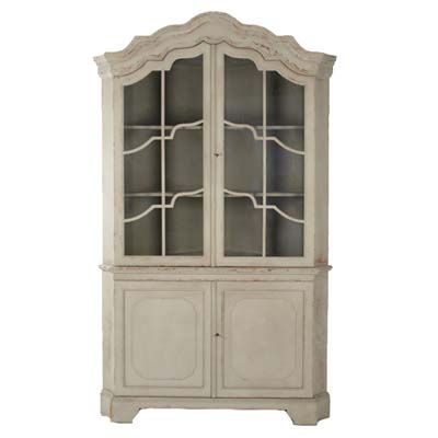Distressed French Carved Display Cabinet