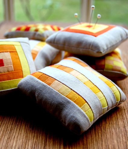Miniature Patchwork Pincushions - the purl bee