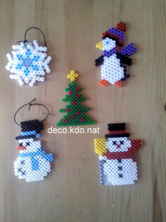 Deco kdo nat perles hama deco noel pingouins bonhomme - Decoration de noel bonhomme de neige ...
