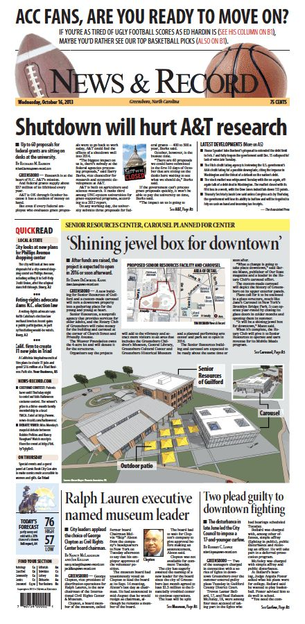 Front page Oct. 16, 2013 www.news-record.com