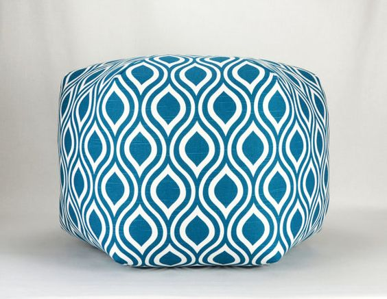 "24""  Wide By 15"" Tall Floor Ottoman Pouf Pillow Aquarius Blue  For sitting area of dining room  Contemporary Modern Print on Etsy, $142.95 CAD"
