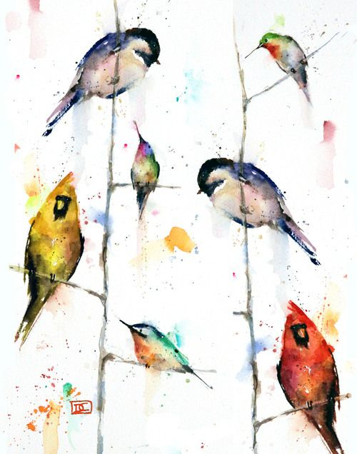 Birds On Branches Watercolor Paintings Nature Branch Art Bird Art
