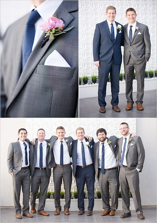Gold and Navy Wedding | Groomsmen suits, Navy and Gray
