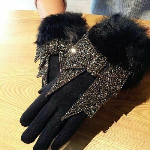 Bowknot Women ladies Touch Screen Winter Warm Wool knit Wrist-Gloves Mittens