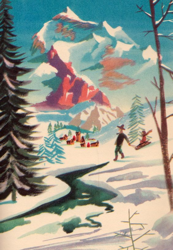 Sledding down the Swiss Alps, illustration by Leonard Weisgard for a 1946 edition of Heidi, by Johanna Spyri: