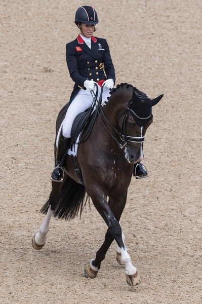 Britain's Charlotte Dujardin on Valegro performs her routine during the Equestrian's Dressage Grand Prix event of the 2016 Rio Olympic Games at the Olympic Equestrian Centre in Rio de Janeiro, Brazil on August 11, 2016. / AFP / John MACDOUGALL