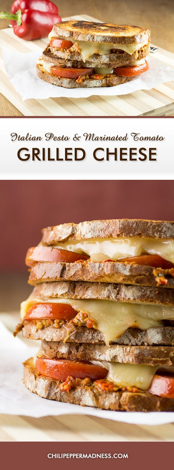 Marinated tomatoes, Grilled cheese sandwiches and Grilled cheeses on ...