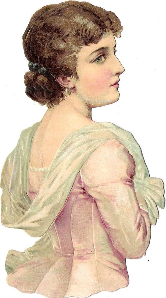 Oblaten Glanzbild scrap diecut chromo Dame  17,5cm  lady femme woman girl: