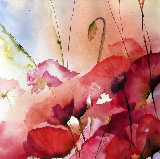 ballet de coquelicots - Véronique Piaser-Moyen Artmajeur #watercolor jd