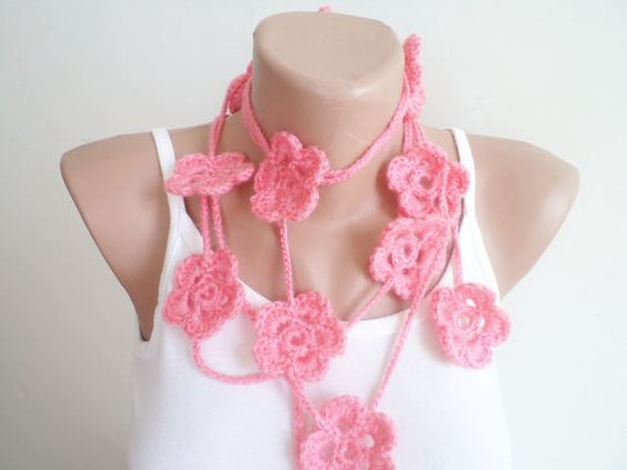 Lariat scarf women accessories pink scarf by BloomedFlower on Etsy, $21.00