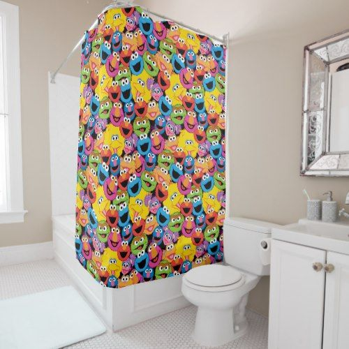 Sesame Street Character Faces Pattern Shower Curtain Zazzle Com Colorful Shower Curtain Custom Shower Curtains