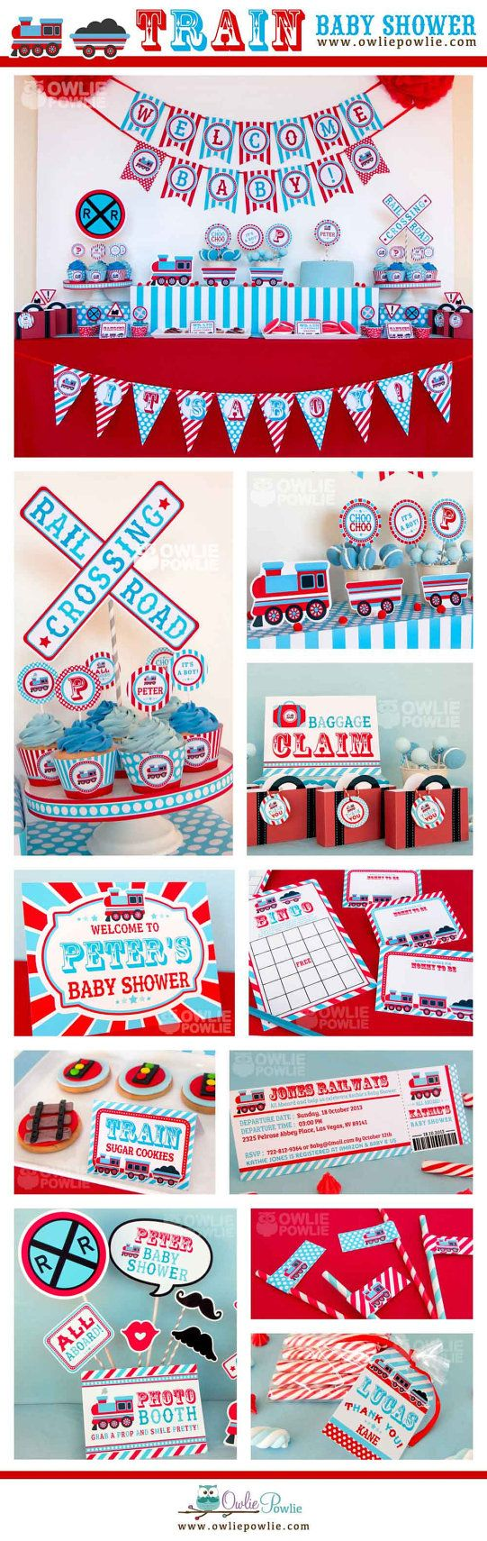 Train BABY Shower Party Printable Package & Invitation, INSTANT DOWNLOAD, You Edit Yourself with Adobe Reader on Etsy, $29.00